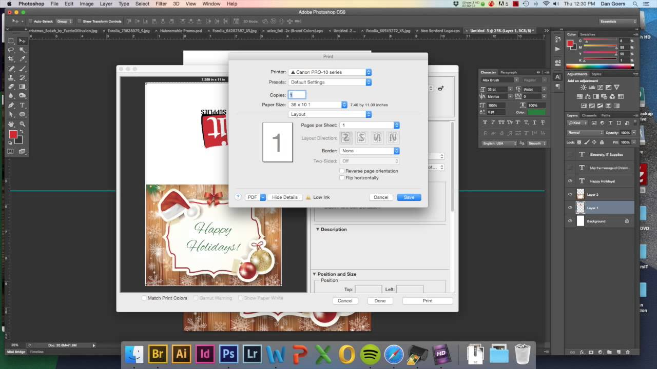 Printing Cards With A Canon Pixma Pro Youtube