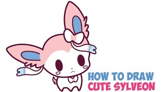 How to Draw Sylveon Step by Step Easy from Pokemon (Cute, Kawaii, Chibi, Baby) for Kids