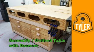 Outfeed / Assembly Workbench with Drawers 033