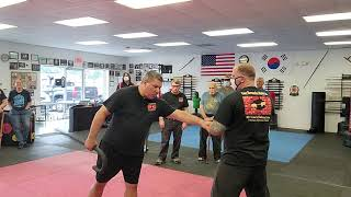 Cane Self Defense with working in close strikes at the 2020 RDT Cane Self Defense Seminar.