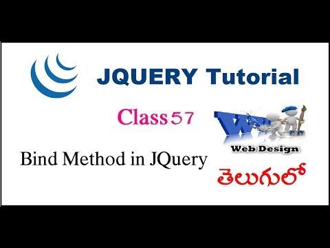 Bind method in jQuery Telugu -54-vlr training
