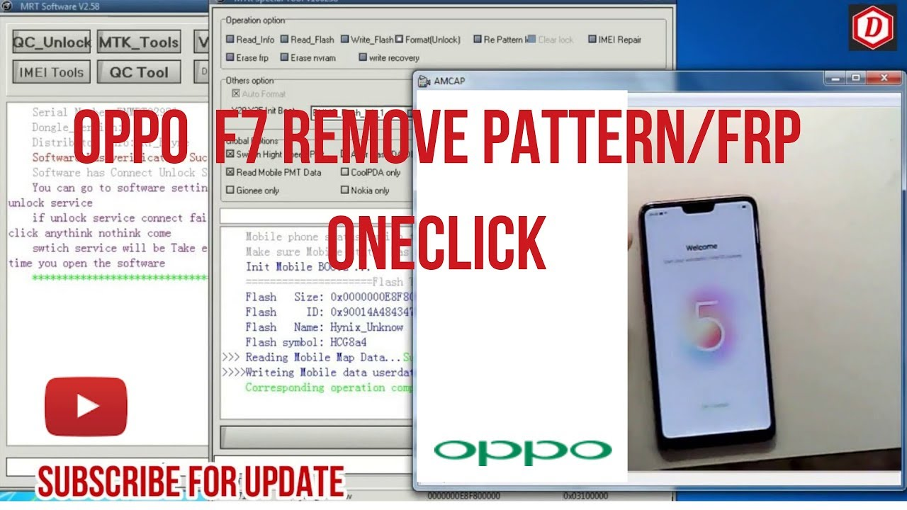 OPPO F7 Unlock Pattern,Unlock FRP Via MRT Dongle