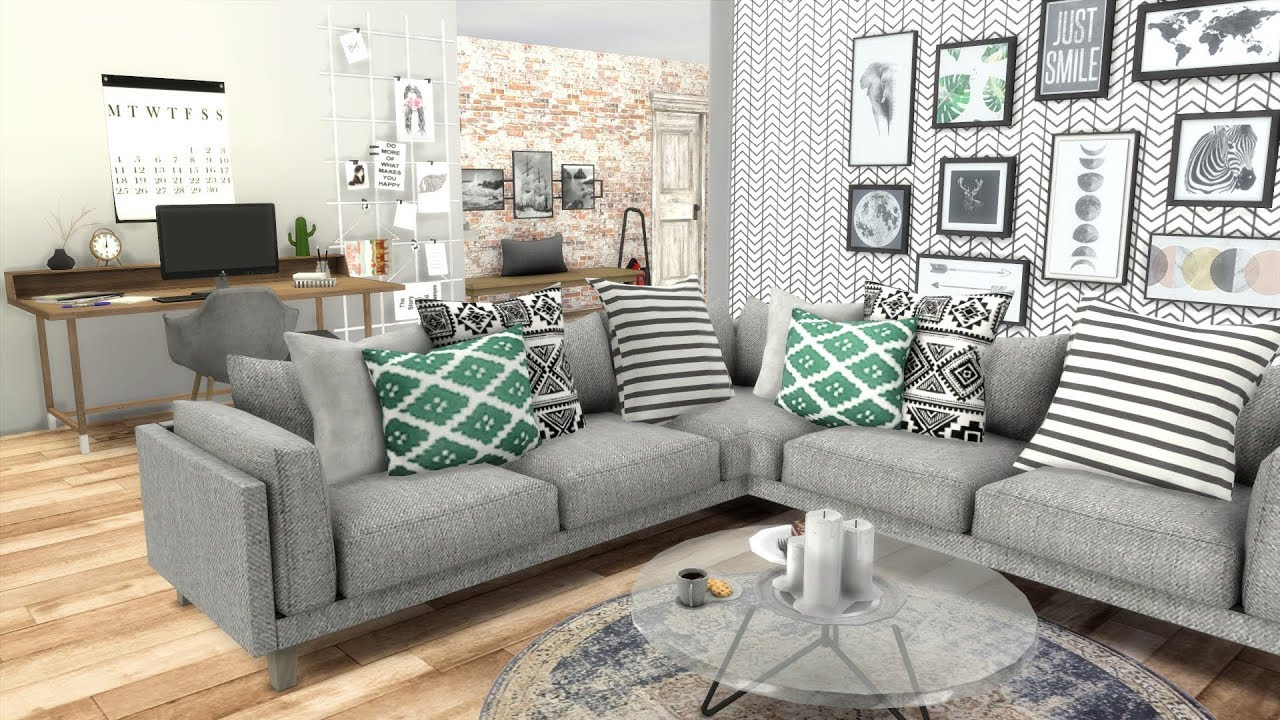 No Coffee Table Living Room Paint Ideas Grey Sofa The Sims 4: Speed Build //the Resource House + Cc ...