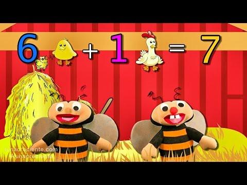 Aprender a sumar es facil del 0 al 6 con Las Abejitas Sumadoras - Educación para niños
