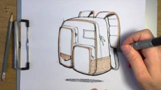 How to Indicate Soft Materials in a Backpack Concept Sketch
