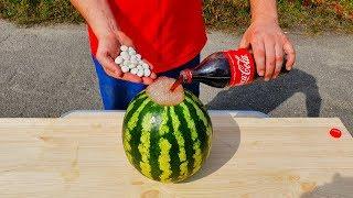 mENTOS VS COCA COLA WATERMELON EXPERIMENT Will Watermelon Explode?