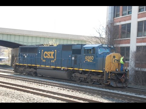 CSX SD70MAC Switching in Worcester, MA 5-3-15