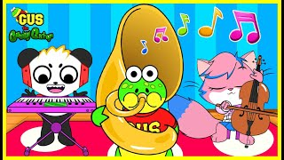 Gus Pretend Play with Musical Instruments for Kids! Learn instruments name!!