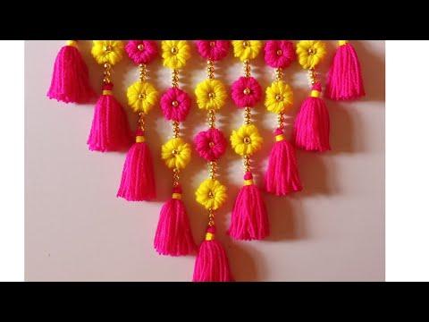 DIY woolen toran!! Home déco!! Woolen design!! Wall hanging!! wool craft!! New design toran!