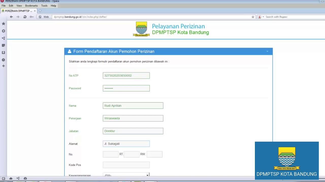 Tutorial Pendaftaran User Pemohon Perizinan di DPMPTSP Kota Bandung