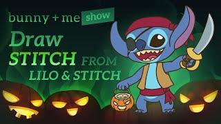 How to draw Stitch - Halloween Disney Tutorial