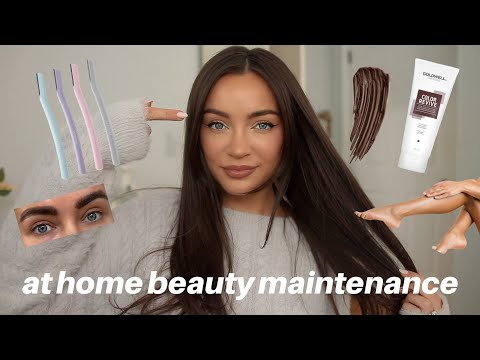 BEAUTY MAINTENANCE ROUTINE: what I do at HOME! (face, brows, hair, + body) to save $$