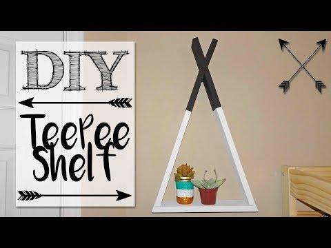 DIY Wood TeePee Shelf
