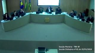 Transmissão na íntegra dos julgamentos do Tribunal Regional Eleitoral de Sergipe TRE-SE. Sessão Plenária nº01/2018.