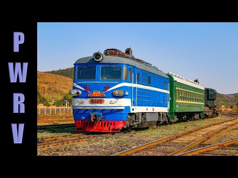 Chinese trains - BJ & DF5 class diesel locomotives work trains on the Nanpiao coal railway