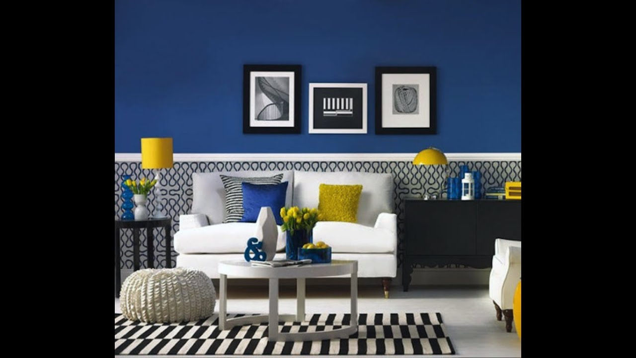 Modern Blue And Yellow Living Room   YouTube