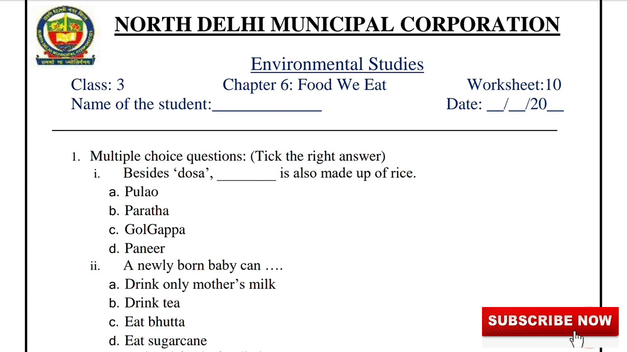 hight resolution of Class 3 EVS (Week 10) Worksheet Solution with Explanation   E.V.S. English  Medium   Food We Eat - YouTube