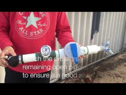 Pressure testing pool pipework for pool leak or leaks youtube for Swimming pool pressure test plugs