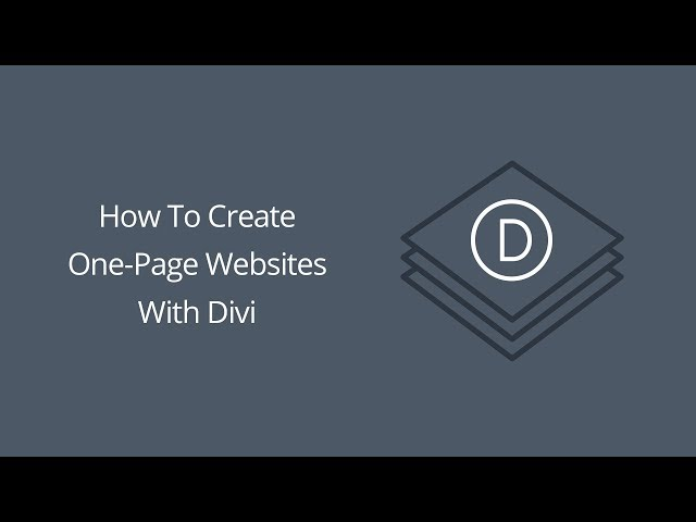 How To Create One Page Websites With Divi