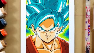 Vẽ Goku SS Blue trong Dragon Ball