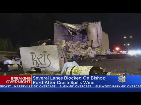 wine article Wine Spills In Bishop Ford Freeway Truck Crash