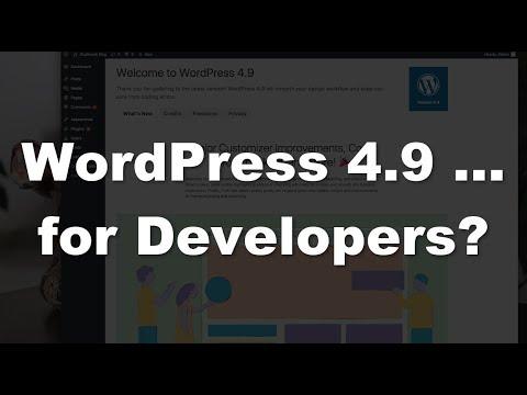 WordPress 4.9 … a developers UPGRADE?