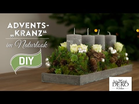 weihnachtsdeko basteln adventskranz im naturlook how to deko kitchen selber machen anleitungen. Black Bedroom Furniture Sets. Home Design Ideas