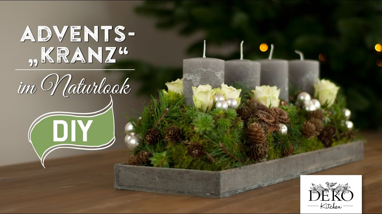 weihnachtsdeko basteln adventskranz im naturlook how to. Black Bedroom Furniture Sets. Home Design Ideas