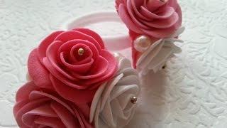 розы из фоамирана своими руками на резиночке