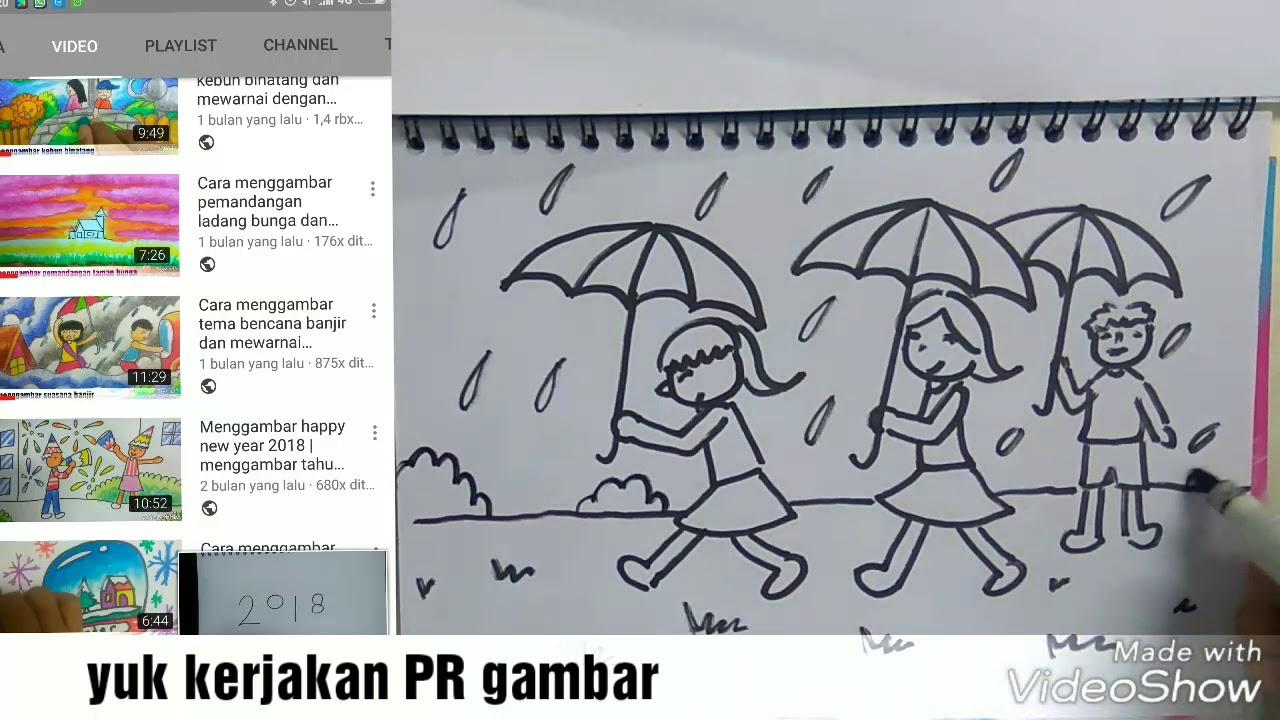 Cara menggambar musim hujan