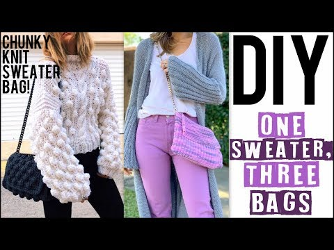DIY: How To Make a KNITTED PURSE - 3 bags from 1 Sweater!! - by Orly Shani