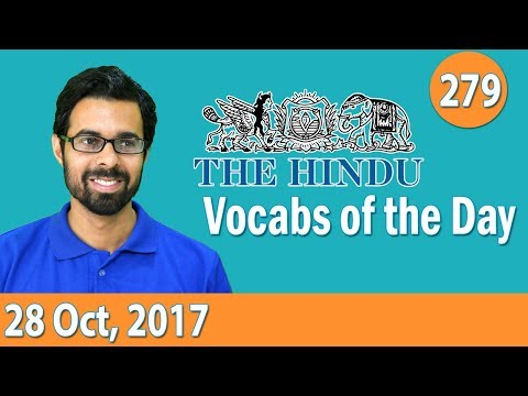 ✅ Daily The Hindu Vocabulary (28th Oct, 2017) - Learn 10 New Words with Tricks | Day-279