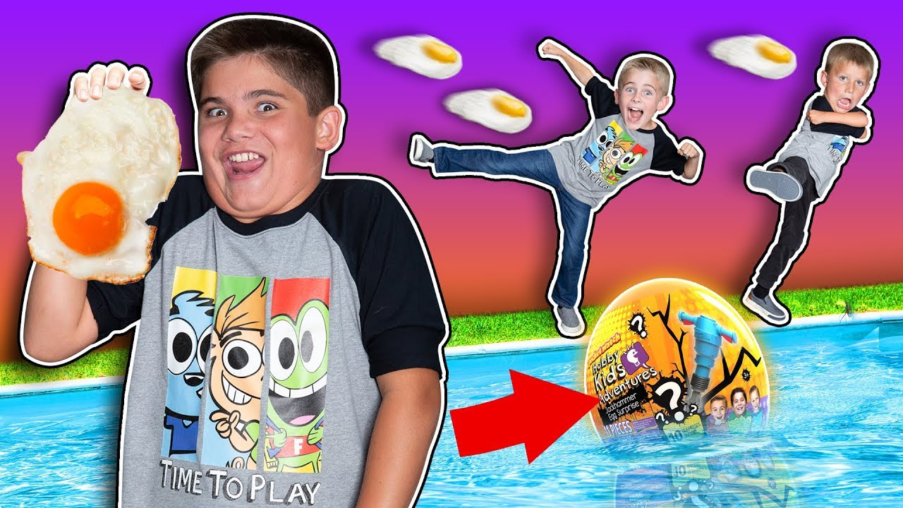 Dodgeball with Giant Eggs and Slime Race! HobbyKids Evil Twins Challenge Games