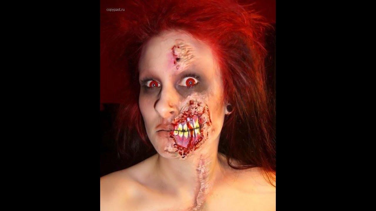 Раскрашиваем лицо на Хэллоуин. Зубастый оскал - YouTube