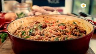 FILETES DE CORDERO caballa al horno albondigas de cerdoy gambas aranchinis de arroz