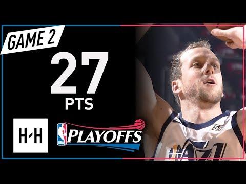 Joe Ingles Full Game 2 Highlights Jazz vs Rockets 2018 NBA Playoffs - 27 Pts!