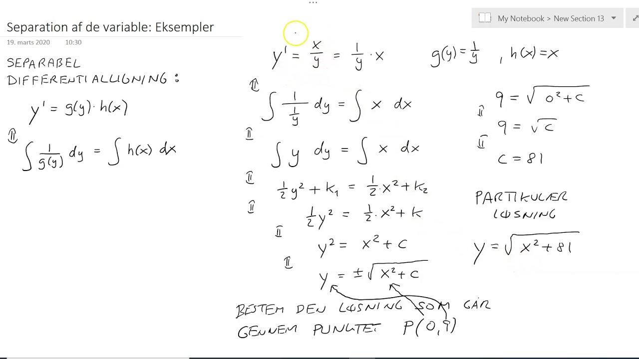 Differentialligning: Separable eksempler