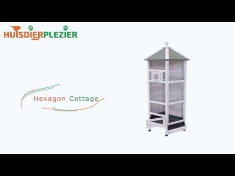 Huisdierplezier.nl | Volière Hexagon Cottage | Volière bouwen