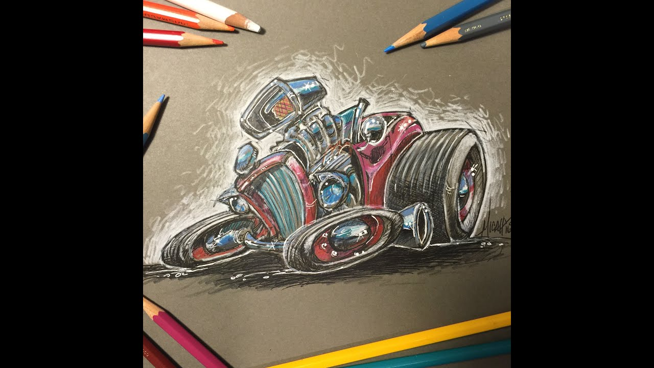 Hot Rod Drawing Colored Pencils