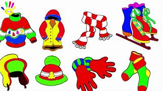 How to Draw Accessories for Winter   Coloring Childrens Shoes, Sweater, Beanie, Gloves, Socks, Warm