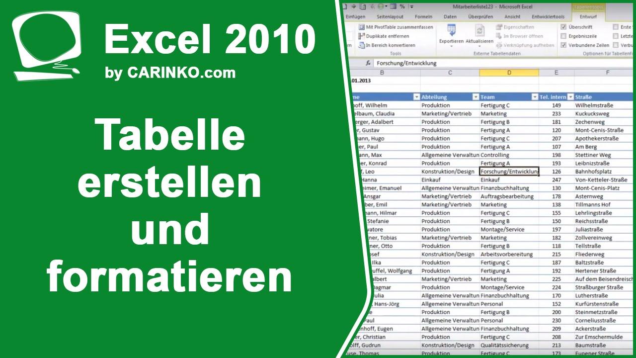 Excel Tabelle Erstellen Und Formatieren Tutorial Von