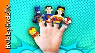 Where Are Superheroes? Finger Puppets Song + Nursery Rhyme w.Batman n Spiderman HobbyKidsTV
