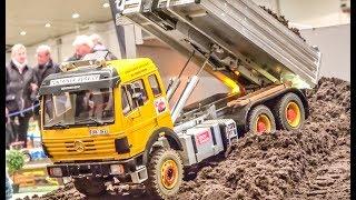 R/C trucks and machines in Action! Bridge construction!