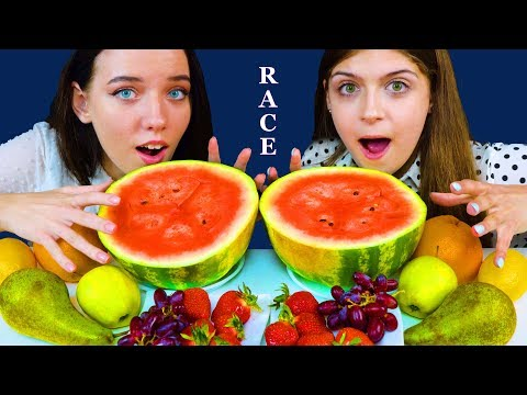 ASMR FRUIT RACE (WATERMELON, LEMON, STRAWBERRY, GRAPE FRUIT, PEAR) EATING SOUNDS