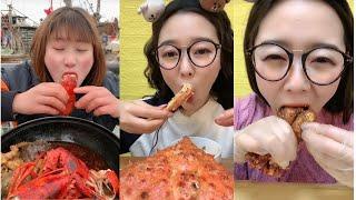 ASMR MUKBANG-거대한 해산물을 먹는 아름다운 …