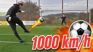 1000 km/h free kick football challenge