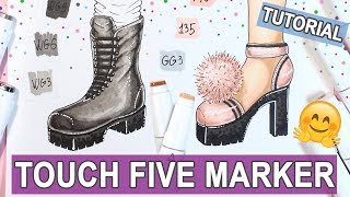 HOW TO DRAW SHOES WITH TOUCH FIVE MARKERS ✔ EASY TUTORIAL 【 Fashion Shoes with Traktor Platform 】