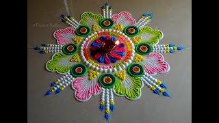 Small, simple yet beautiful rangoli using bangles | Easy and unique rangoli for festivals
