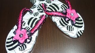 Repeat youtube video Como decorar unas sandalias fácilmente en macrame ,#016 Manualidades la Hormiga