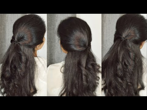 twisted-half-ponytail-|ponytail-hairstyles|-low-ponytail-for-college-prom-work